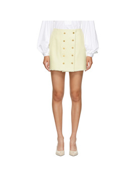 White Frayed Wool Double Breasted Miniskirt by Thom Browne