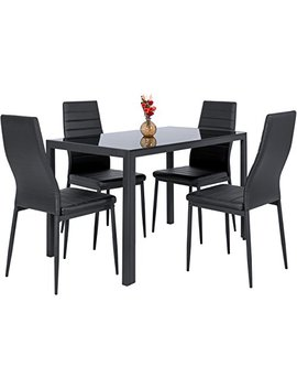 Best Choice Products 5 Piece Kitchen Dining Table Set W/Glass Top And 4 Leather Chairs Dinette  Black by Best Choice Products