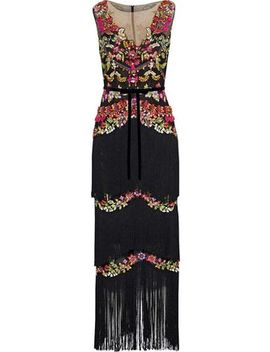 Fringed Embellished Tulle Gown by Marchesa Notte
