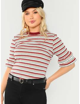 Plus Tiered Cuff Striped Ribbed Tee by Shein