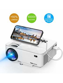 Mini Projector, T Topvision Projector Synchronize Smart Phone Screen 2018 Upgraded, 50 Percents Lumens Supported 1080 P, 50,000 Hours Lamp Life, Compatible Hdmi/Vga/Usb/Tv/Box/Laptop/Dvd by T Topvision