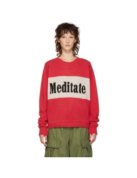 Red 'meditate' Regular Crewneck Sweater by The Elder Statesman