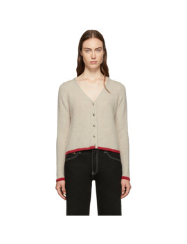 Beige Cashmere Cropped Line Cardigan by The Elder Statesman