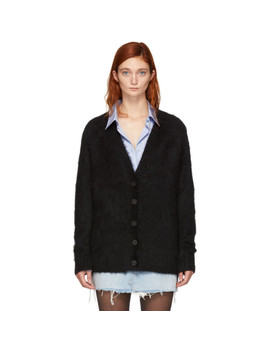 Black Mohair Solid Cardigan by T By Alexander Wang