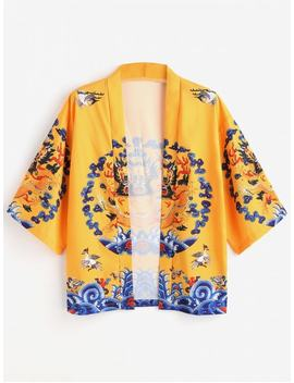 Dragon Print Kimono Cardigan   Yellow L by Zaful