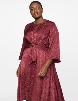 Tie Front Textured Satin Dress by Eloquii