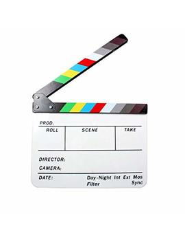 """Andoer Acrylic Clapboard Dry Erase Director Film Movie Clapper Board Slate 9.6 11.7"""" With Color Sticks by Andoer"""