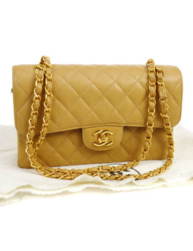 Auth Chanel Quilted Cc Double Flap Chain Shoulder Bag Beige Caviar Ghw Ak16665a by Chanel
