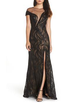 Lucilia Illusion Sequin Gown by Tadashi Shoji