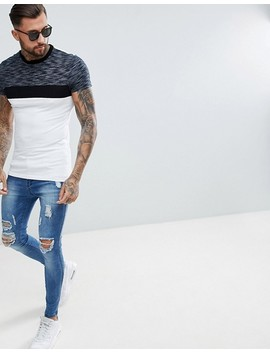 Asos Design Muscle T Shirt With Contrast Yoke In Inject Fabric by Asos Design