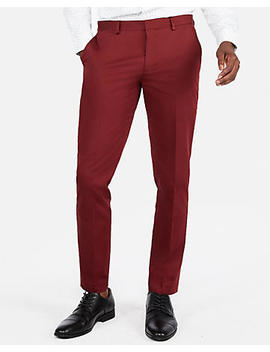 Extra Slim Burgundy Cotton Sateen Stretch Suit Pant by Express