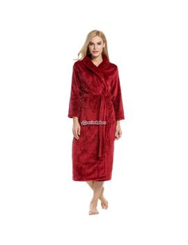 Women Shawl Collar Long Sleeve Soft Plush Bathrobe Sleepwear Long Robe B98 B by Unbranded
