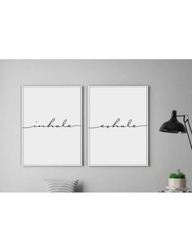 Inhale Exhale Print, Yoga Print, Pilates Poster, Relaxation Gifts, Breathe Print, Inspirational Print, Minimalist Typography Art by Etsy