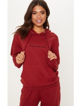 Prettylittlething Burgundy Embroidered Oversized Hoodie by Prettylittlething