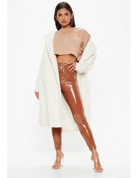 Camel Vinyl Trousers by Missguided