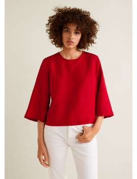 Linen Flared Sleeve Blouse by Mango