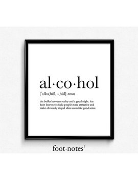 Alcohol Definition, Dictionary Art Print, Dictionary Art, Office Decor, Minimalist Poster, Funny Definition Print, Definition Poster, Quotes by Etsy