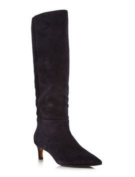Women's Macey Pointed Toe Weatherproof Suede Mid Heel Boots   100 Percents Exclusive by Aquatalia