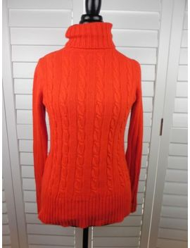 J Crew Wool Blend Turtle Neck Sweater Womens Small Pullover Red Orange Knit by J.Crew