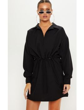 Black Toggle Waist Shirt Dress by Prettylittlething