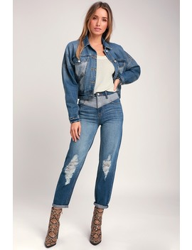 Andie High Rise Medium Wash Two Tone Distressed Jeans by Jordache