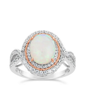 Womens Lab Created White Opal Sterling Silver Cocktail Ring by Fine Jewelry