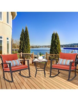 Costway 3 Pcs Patio Rattan Wicker Furniture Set Rocking Chair Coffee Table W/Cushions by Costway