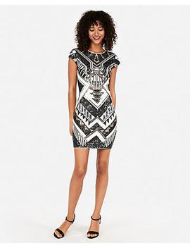 Short Sleeve Sequin Sheath Dress by Express