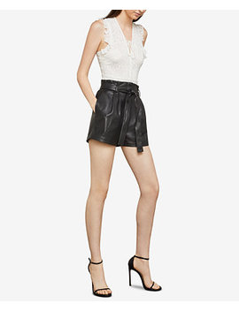 Faux Leather Paper Bag Waist Shorts by Bcbgmaxazria
