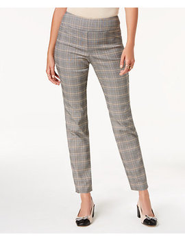 Petite Plaid Pull On Pants, Created For Macy's by Charter Club