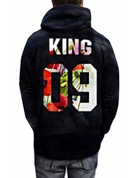 Women And Men King Queen Letter Print Couple Hoodies Hooded Sweatshirt Pullover by Amazon