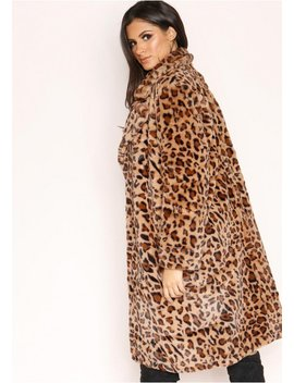 Kira Leopard Print Faux Fur Coat by Missy Empire