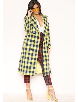Vienna Yellow Check Trench Jacket by Missy Empire