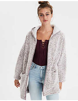 Ae Fuzzy Teddy Sherpa Cardigan by American Eagle Outfitters