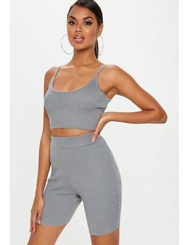 Grey Strappy Knitted Ribbed Crop Top by Missguided
