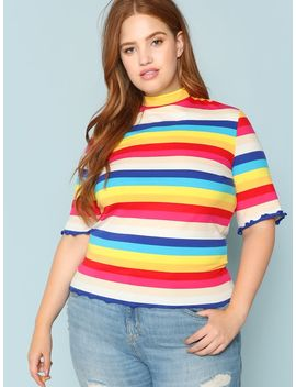 Plus Mock Neck Colorful Striped Tee by Shein