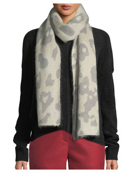 Leopard Print Mohair Rectangle Scarf by Rag & Bone