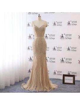 Sexy Sheath Mermaid Champagne Spaghetti Straps Prom Ball Gown V Neck Bride Wedding Dress Sliver/Gold Crystal Formal Evening Reception Dress by Etsy