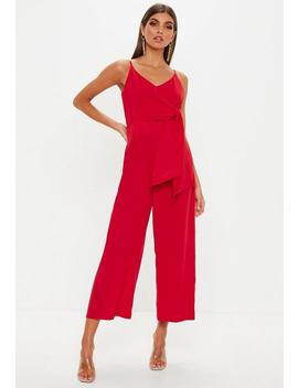 Red Tie Side Culotte Jumpsuit by Missguided