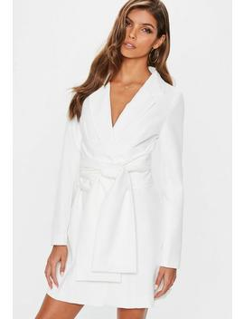 Cream Extreme Wrap Belted Blazer Dress by Missguided