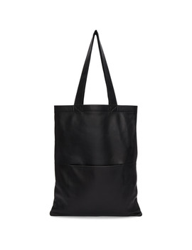 Black Signature Leather Tote by Rick Owens