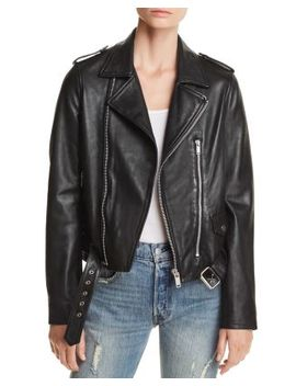 Belted Leather Moto Jacket   100 Percents Exclusive by Aqua