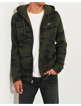 Camo Full Zip Icon Hoodie by Hollister