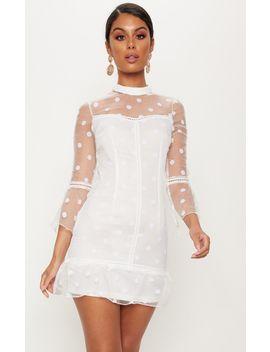 White Spotty Mesh Frill Hem 3/4 Sleeve Bodycon Dress by Prettylittlething