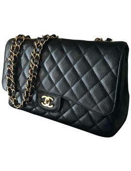 Single Flap Black Caviar Leather Shoulder Bag by Chanel