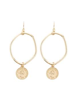 Coin Charm Drop Oval Earrings by Forever 21