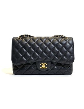 Classic Flap Jumbo Gold Hardware Black Caviar Cross Body Bag by Chanel