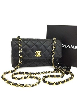 Classic Quilted Single Flap Cc Turn Lock Mini 6658 Black Lambskin Leather Cross Body Bag by Chanel