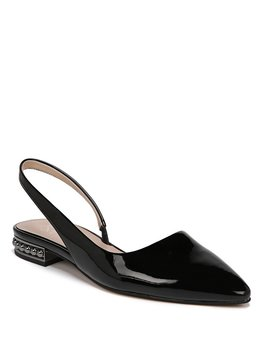 Savanne Studded Heel Patent Leather Slingback Flats by Franco Sarto