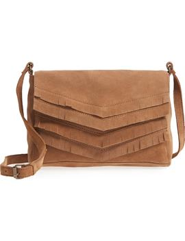 Chevron Fringe Suede Crossbody Bag by Ten79 La